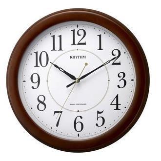 【10セット】 リズム時計 フィットウェーブリッツ 電波掛時計 茶色半艶仕上 8MYA24SR06 [8MYA24…[10000円アマゾンギフト付]
