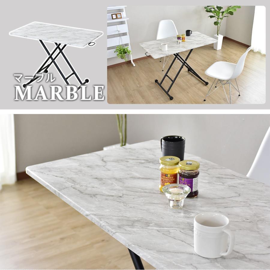 昇降テーブル 大理石風 おしゃれ ガス圧 リフトテーブル 幅100cm 昇降式 テーブル ミランダ100×55 北欧 プレゼント grazia-doris 19