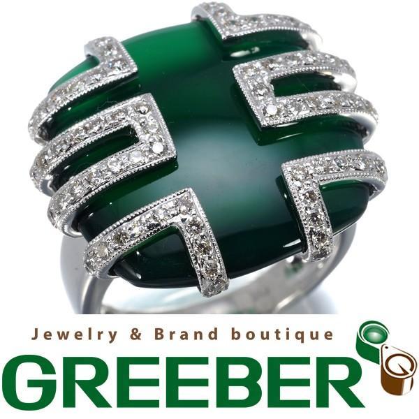 トップ グリーンカルセドニー ダイヤ ダイヤモンド 0.61ct リング 指輪 K18WGGENJ, 銀石[GINSHI] 6a178778