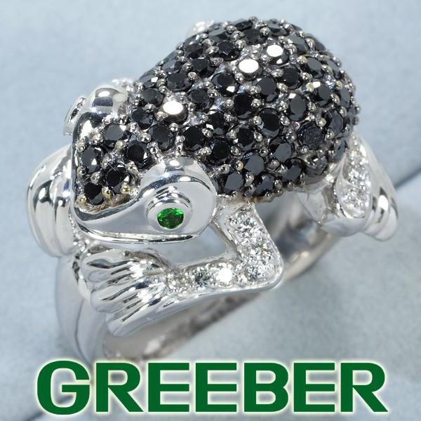 最前線の ブラック&クリアダイヤ ダイヤモンド 1.30ct/0.15ct ガーネット カエル リング 指輪 K18WG GENJ 大幅値下げ品, 大佐町 73e8b684