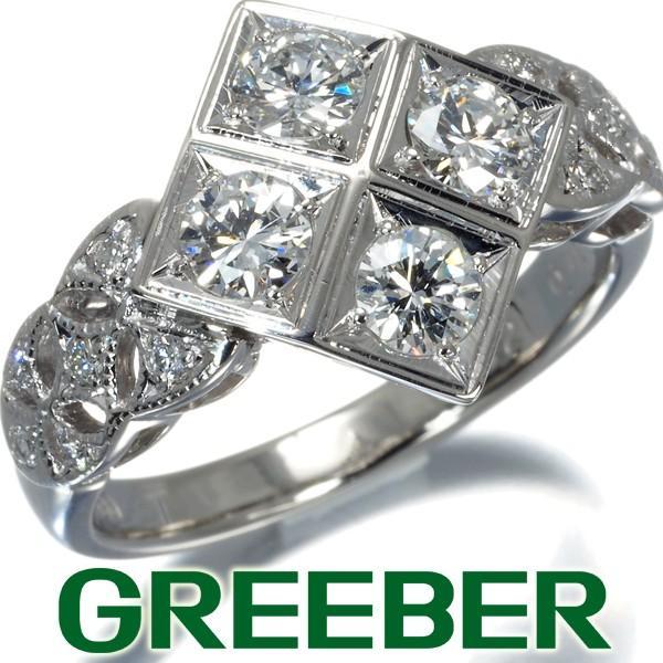 【送料無料/新品】 ダイヤ ダイヤモンド 0.93ct スクウェア ミルグレイン リング 指輪 Pt900/プラチナ GENJ 大幅値下げ品, ヒガシク 59c64293
