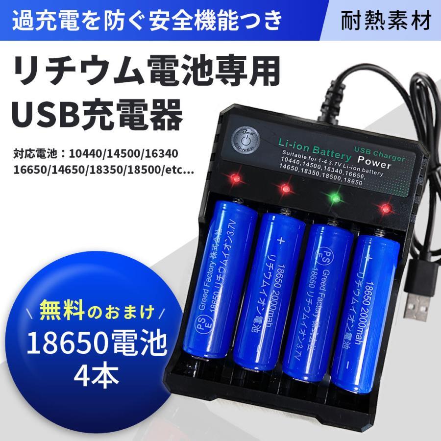リチウムイオン充電器 セット 18650