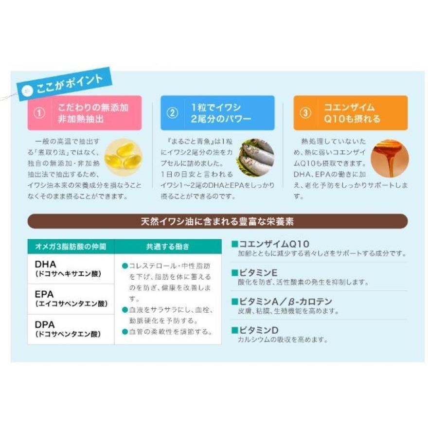 DHA EPA サプリメント まるごと青魚 1袋 オメガ3脂肪酸 DHA&EPA 青魚 非加熱 無添加 オイル 効果|greenhouse|05