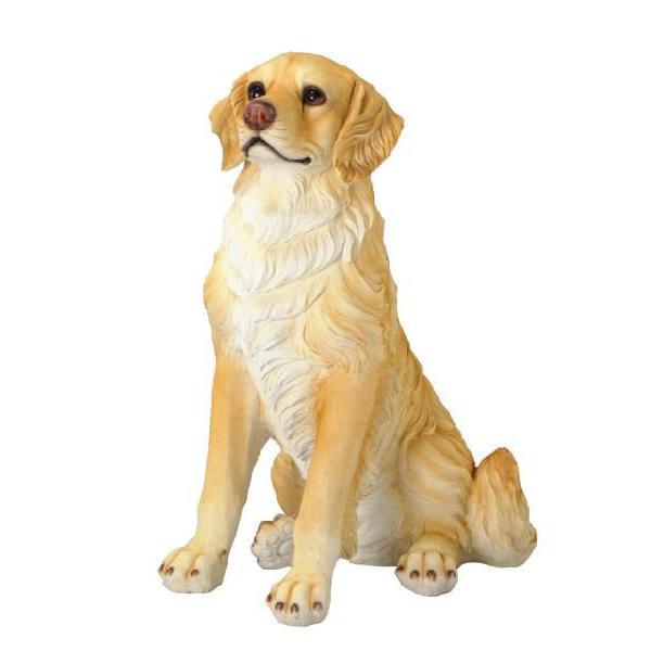 犬の置物 リアルサイズのレジンDOG ゴールデンリトリバー H74