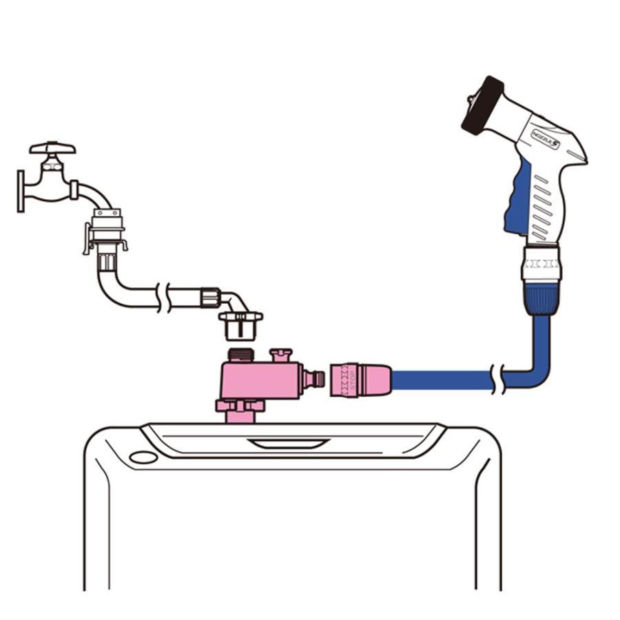 蛇口 ジョイント 全自動洗濯機用分岐栓 G490 takagi タカギ 安心の2年間保証 水やり 水まき 継手 ワンタッチ ジョイント ホースリール|greentools|03