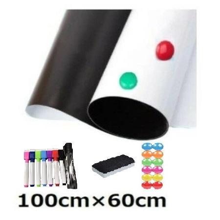 マグネットシート ホワイトボード 壁 壁紙 壁に貼る 100cm 60cm 磁石がくっつく 貼り付け シートタイプ 磁石 伝言板 予定表|grepo-yafuu-store