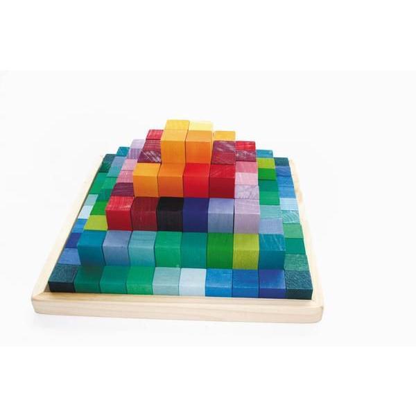 グリムス社 木のおもちゃ ドイツ製 GRIMMS にじのステップブロック 100ピース 虹 レインボー 積木 積み木 つみ木 木製玩具