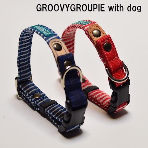 中型犬用【Mサイズ】首輪 ヒッコリー&デニム+レザー|groovygroupie|02