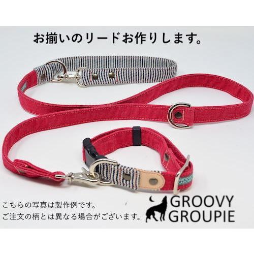 中型犬用【Mサイズ】首輪 ヒッコリー&デニム+レザー|groovygroupie|09