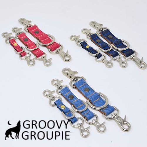 すっぽ抜け防止!首輪とハーネスとリードをまとめる!デニムのジョイントリード。レバーナスカン使用【Sサイズ・小型犬用とMサイズ 中、大型犬用】 groovygroupie