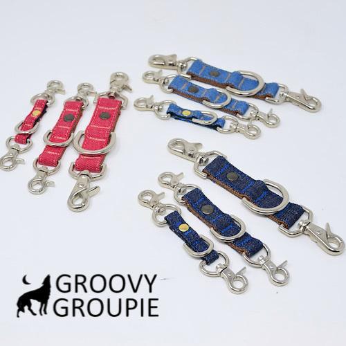 すっぽ抜け防止!首輪とハーネスとリードをまとめる!デニムのジョイントリード。レバーナスカン使用【Sサイズ・小型犬用とMサイズ 中、大型犬用】 groovygroupie 02