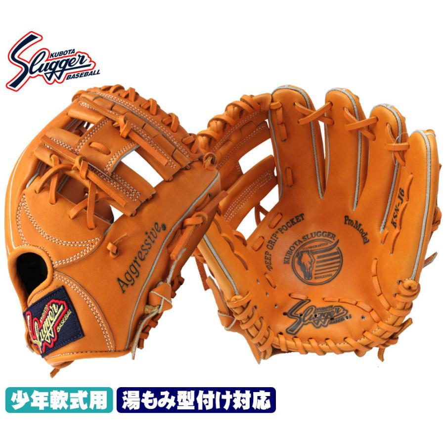 久保田スラッガー KSN-J6 オレンジ 少年軟式用グラブ ジュニア用では中間サイズモデル エッジ付きウェブの内野向けモデル