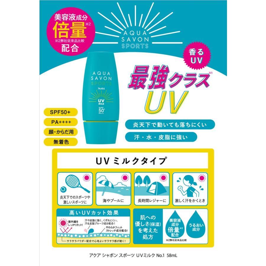 アクアシャボン アクアシャボン スポーツ UVミルク NO.1 NEW (日焼止め乳液) 58ml【ネコポス不可】|guruguru-cosme|02