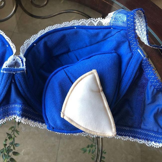 ブラジャー 脇肉 チェスニービューティー ルーシー ウェイクアップブラ マリーン 3/4カップブラ カップ内側 綿100% インポートランジェリー 育乳ブラ 40代 h-blue 09