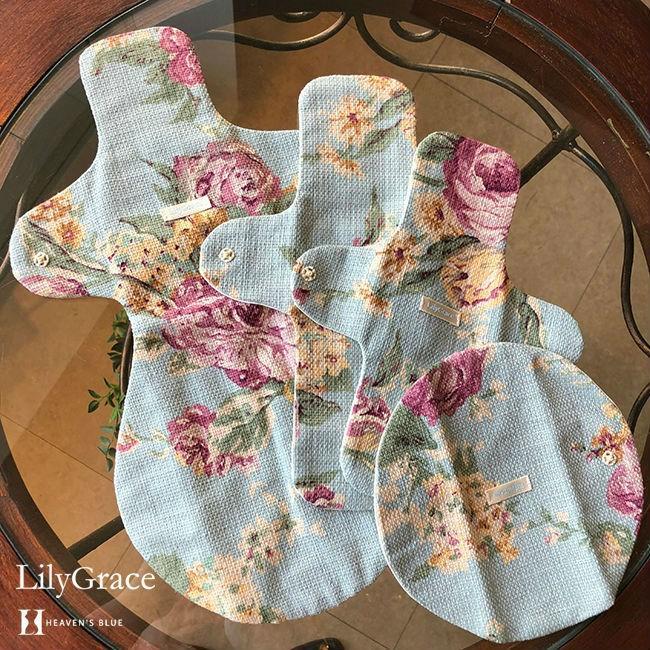 布ナプキン シルク 昼用 多い日 約27cm リリィグレイス シルク100% 布ナプ おりもの 羽根つき 日本製 【ネコポス対応可】 h-blue 11