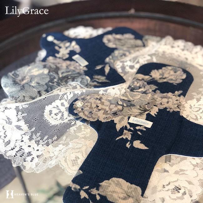 布ナプキン シルク 昼用 多い日 約27cm リリィグレイス シルク100% 布ナプ おりもの 羽根つき 日本製 【ネコポス対応可】 h-blue 13