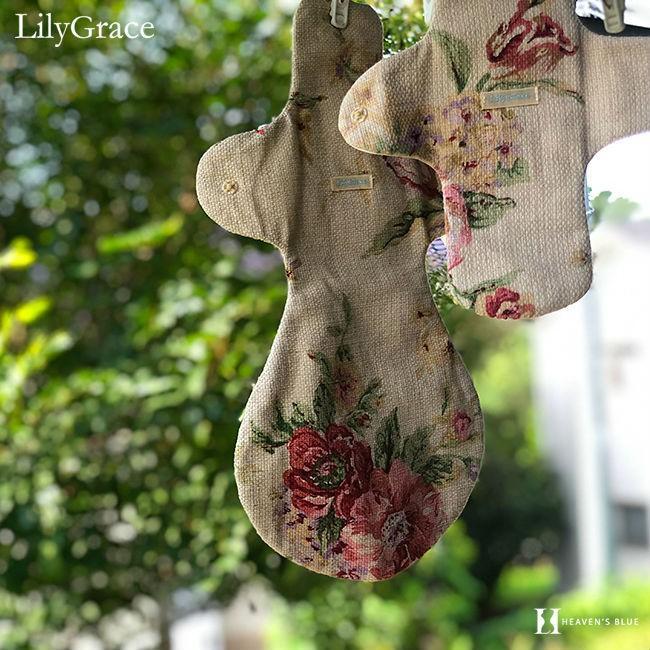 布ナプキン シルク 昼用 多い日 約27cm リリィグレイス シルク100% 布ナプ おりもの 羽根つき 日本製 【ネコポス対応可】 h-blue 16
