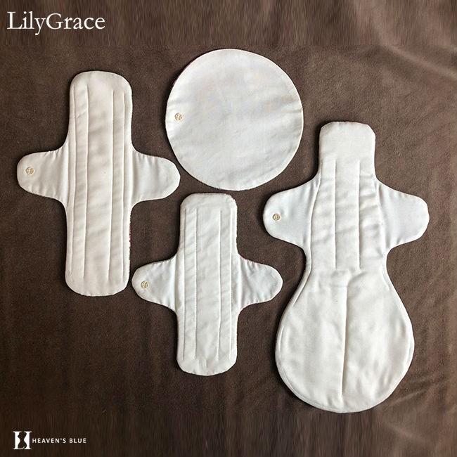 布ナプキン シルク 昼用 多い日 約27cm リリィグレイス シルク100% 布ナプ おりもの 羽根つき 日本製 【ネコポス対応可】 h-blue 18