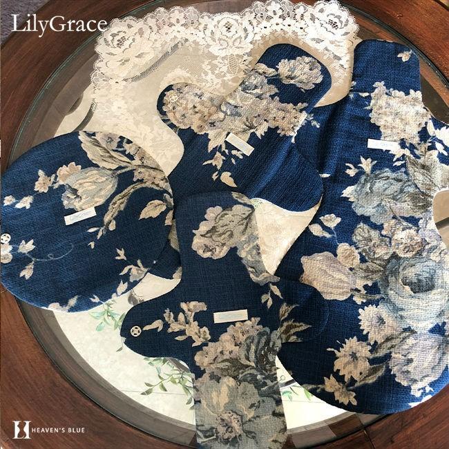 布ナプキン シルク 昼用 多い日 約27cm リリィグレイス シルク100% 布ナプ おりもの 羽根つき 日本製 【ネコポス対応可】 h-blue 08