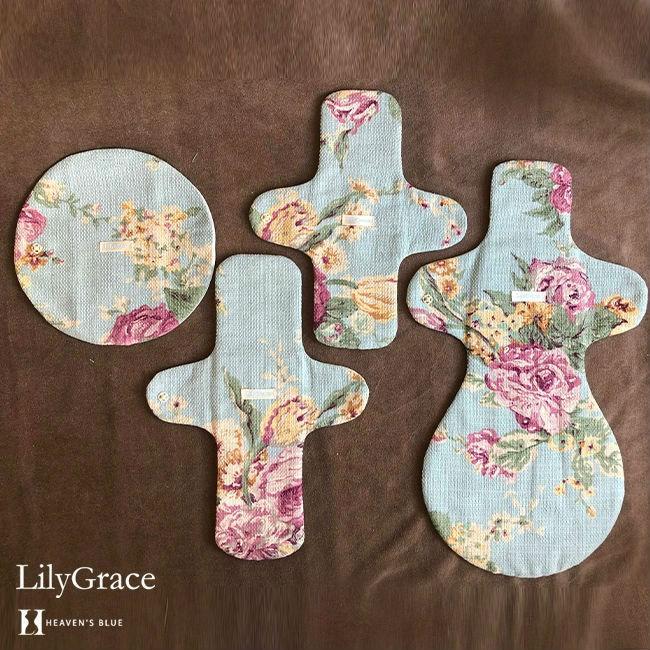 布ナプキン シルク 昼用 多い日 約27cm リリィグレイス シルク100% 布ナプ おりもの 羽根つき 日本製 【ネコポス対応可】 h-blue 09