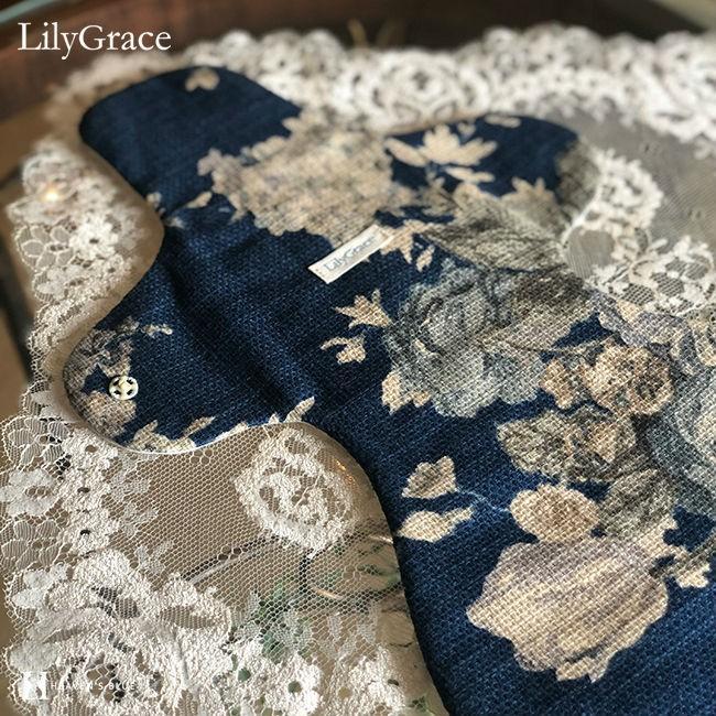 布ナプキン シルク 夜用 約36cm 超 ロング タイプ リリィグレイス シルク100% 布ナプ おりもの 日本製 【ネコポス対応可】 h-blue 17