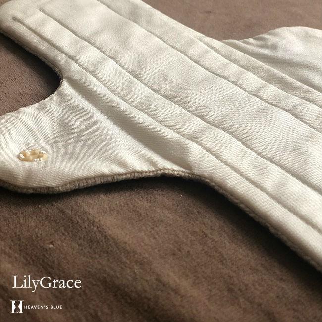 布ナプキン シルク 夜用 約36cm 超 ロング タイプ リリィグレイス シルク100% 布ナプ おりもの 日本製 【ネコポス対応可】 h-blue 20