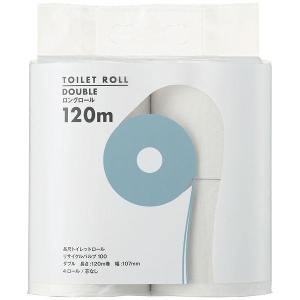 トイレットペーパー 4ロール入 再生紙 FSC認証紙 ダブル 120m 芯なし オリジナルトイレットロール 1パック(4ロール入) アスクル