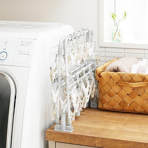 洗濯ハンガー 引っ張っるだけで洗濯物がまとめて取り込める 横もちアルミハンガー 40ピンチ 1個 ロハコ(LOHACO)オリジナル