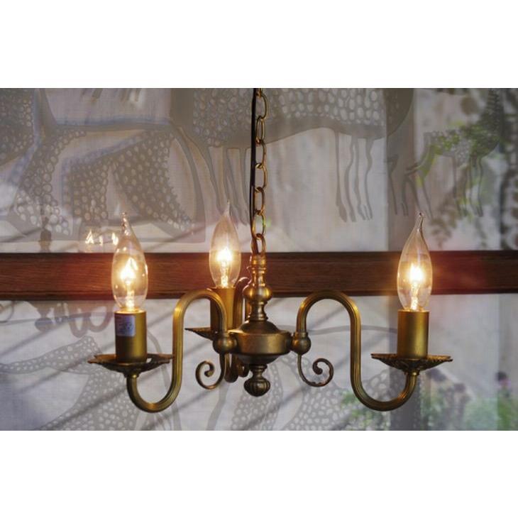 真鍮 シャンデリア (FC-121G3) LED対応 クラシカルなデザインの3灯シャンデリア アンティーク調 ランプ 吊り下げ式 シンプル ゴールド