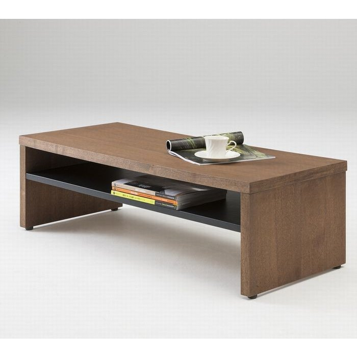 リビングテーブル 110 ウォールナット モダン おしゃれ センターテーブル ソファーテーブル 収納棚付き 完成品 110幅 送料無料|habitz-mall