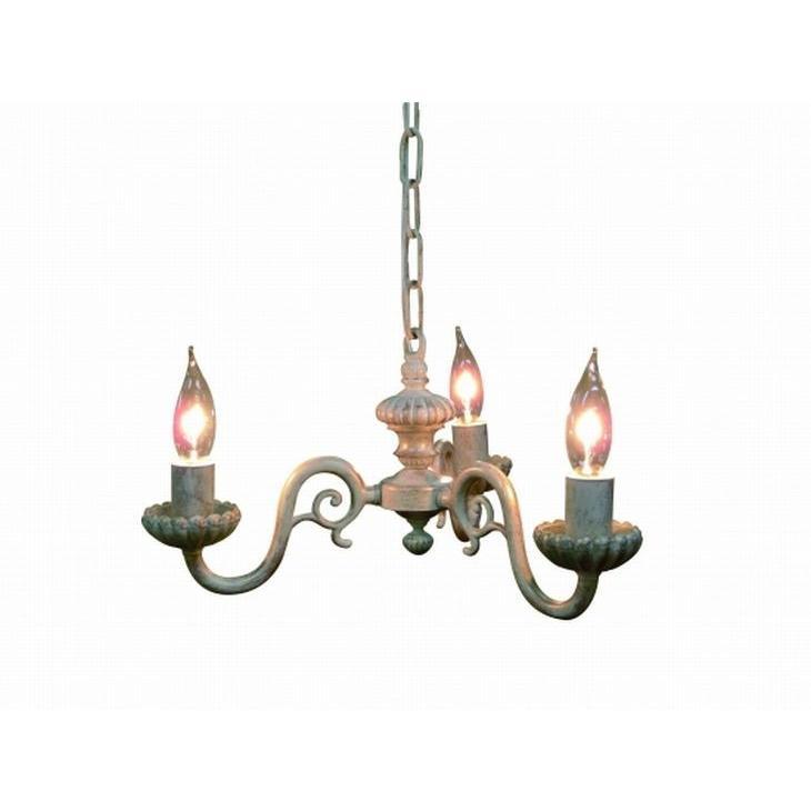 真鍮 シャンデリア (FC-770R3) LED対応 くすんだようなホワイトが印象的 アンティーク調 ランプ 照明 吊り下げ式 シンプル