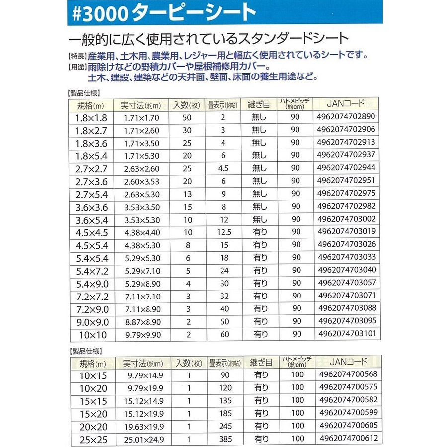 ブルーシート ターピー#3000 4.5mX4.5m hagihara-e 05