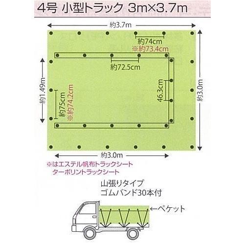 トラックシート 4号 3.0mX3.7m エステル帆布グリーン|hagihara-e|02