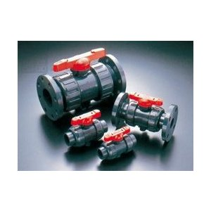 旭有機材工業:ボールバルブ21型(接続:フランジ形 ボディ材質:C-PVC Oリング材質:EPDM) 型式:21型-80-C-PVC/EPDM(フランジ 10K)