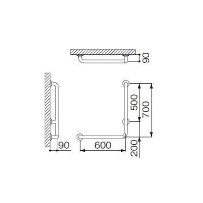 ミヤコ:浴室手摺 MB115-1RS 型式:MB115-1RS-φ34×1.5