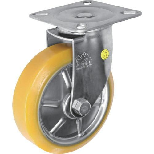 シシク ステンレスキャスター 制電性ウレタン車輪付自在 SUNJ-150-SEUW ( SUNJ150SEUW )