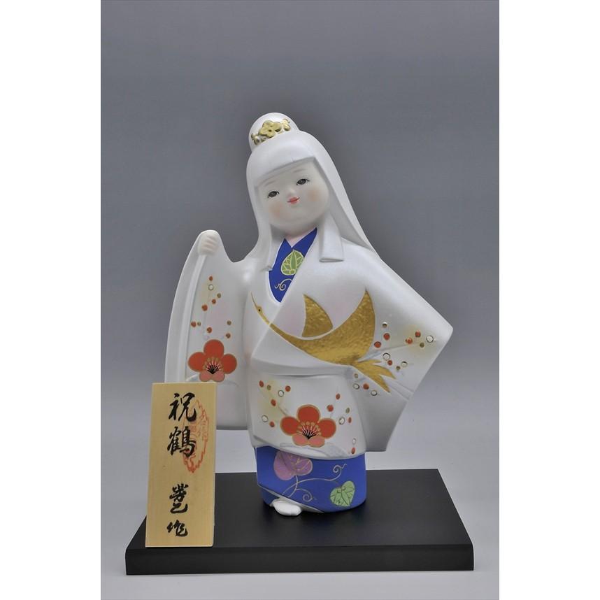 博多人形 【祝 鶴】 各種御祝・ギフトにお奨め。施された金の鶴が、ひときわ美しい!(人形ケース付き)|hakata-honpo|02