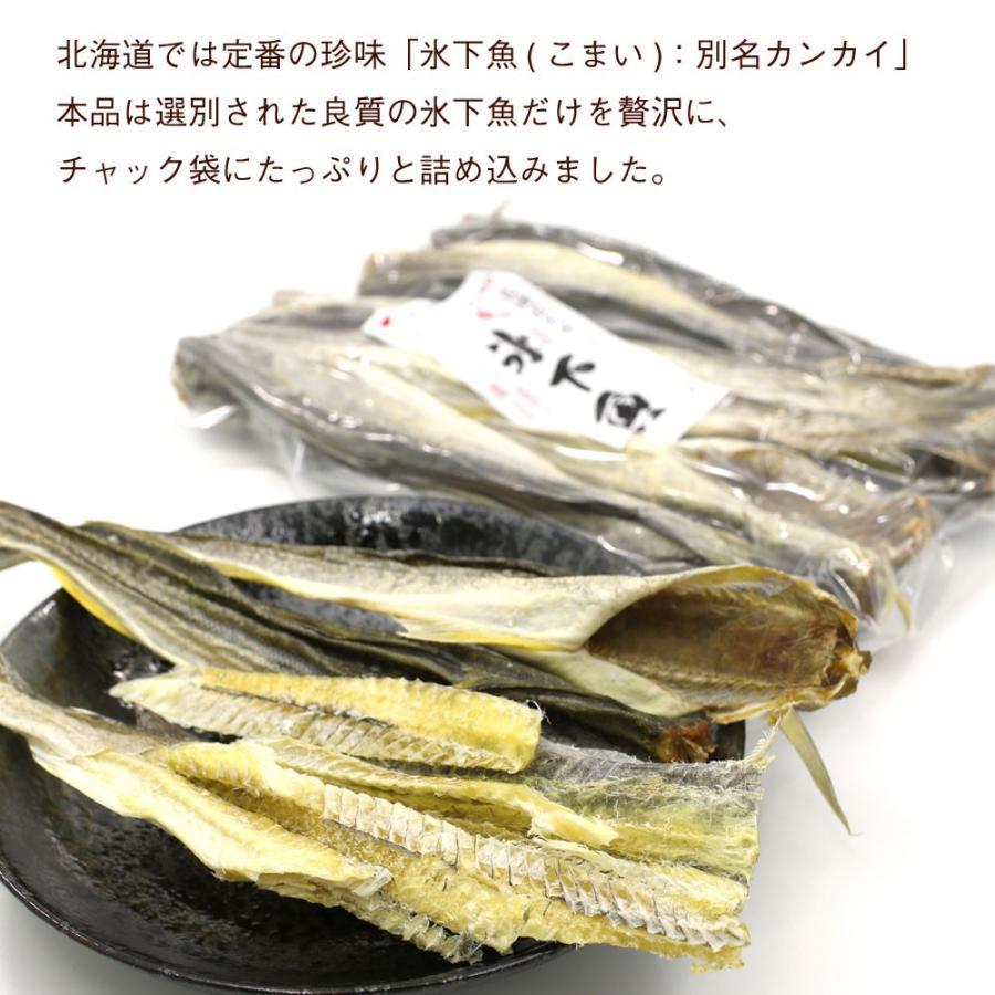 こまい 魚 氷下魚 コマイ 250g 北海道製造 本乾こまい 干しカンカイ こまい珍味 かんかい氷下魚 干物 メール便 送料無料 ポイント消化 hakodate-e-kombu 02