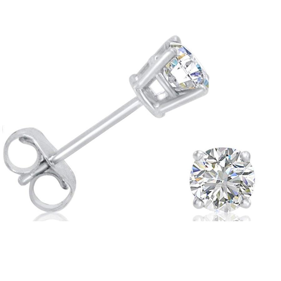 割引発見 AGS Certified 1/2ct TW. Diamond Solitaire Stud Earrings set in 14K Whi, 自転車屋 黒ヒゲ fd281baa