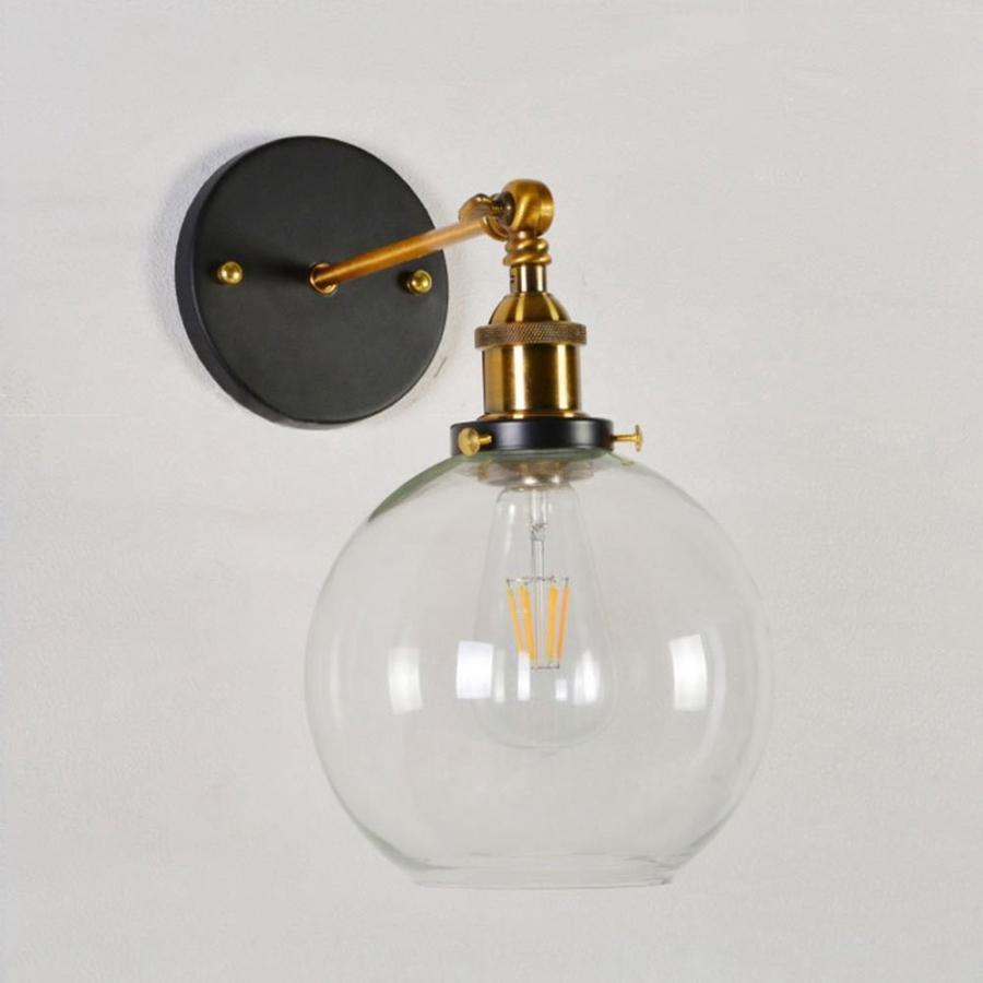 BAYCHEER Industrial Light Light Fixture Glass Shade Modern Wall Sconce for Bedroo(BAYCHEER産業照明器具ガラスシェードモダン壁取り付け用燭台B)