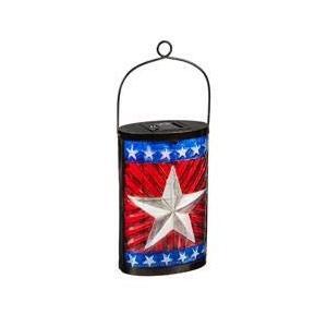 エバーグリーンガーデン愛国的な旗ソーラーガラスランタン、2個セット エバーグリーンガーデン愛国的な旗ソーラーガラスランタン、2個セット