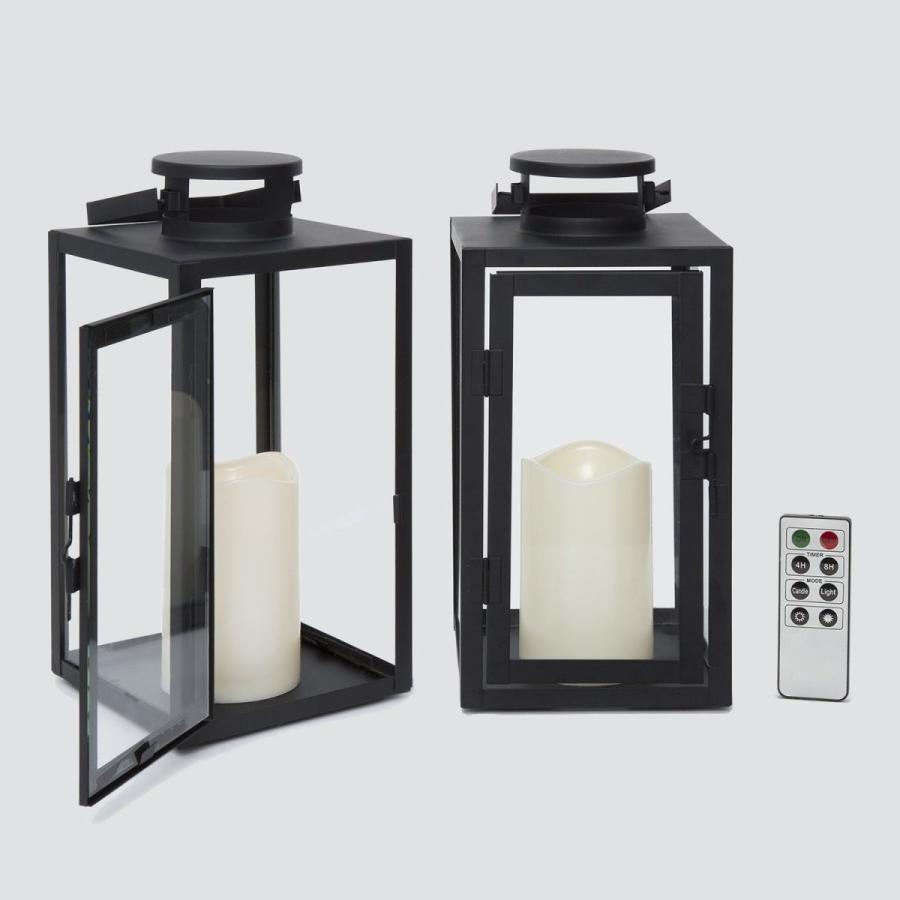 屋外用フレームレスブラックキャンドルランタン、ガラスパネル、高さ11 屋外用フレームレスブラックキャンドルランタン、ガラスパネル、高さ11
