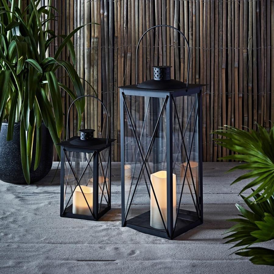 Indのための高く黒い金属の電池式LEDのフレームレス蝋燭のランタン Indのための高く黒い金属の電池式LEDのフレームレス蝋燭のランタン