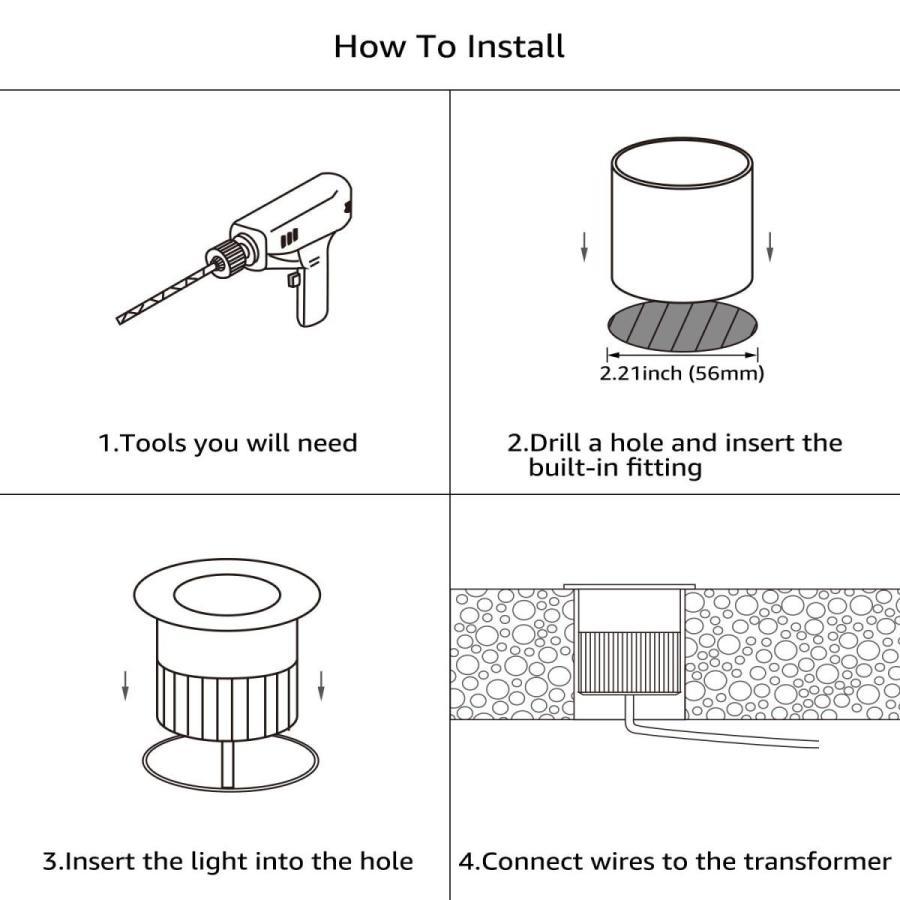 LEONLITE LEDリンケージ可能ウェルライト、3W屋外景観ランプ、IP67 Wate