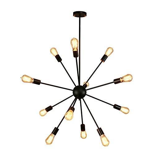 Sputnikシャンデリア、Naturous 12ライトペンダント照明、ブラック塗装