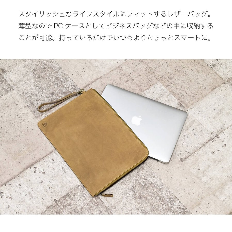 PCケース レザー 本革 13インチ クラッチバッグ A4ファイル Mac Book 牛革 スリム 薄い ビジネス ブランド|hallelujah0325|05