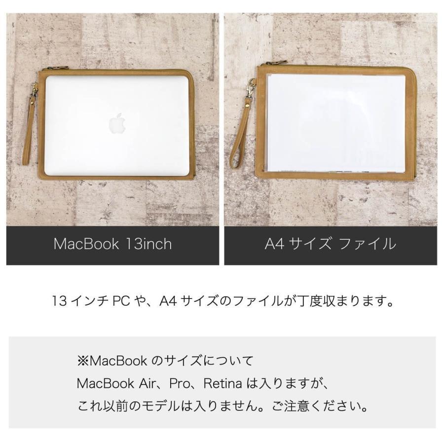 PCケース レザー 本革 13インチ クラッチバッグ A4ファイル Mac Book 牛革 スリム 薄い ビジネス ブランド|hallelujah0325|08