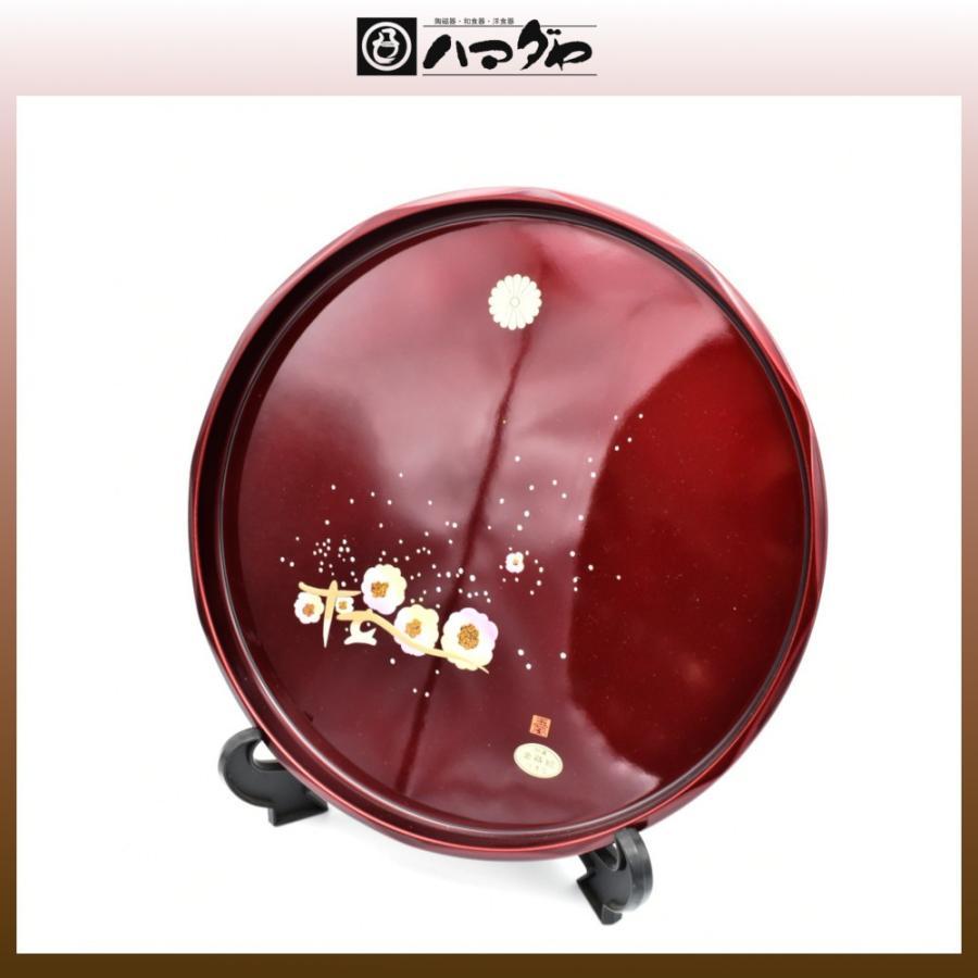 紀州塗 盆 菊紋入り 丸盆玉虫塗桜30cm item no.1f338|hamadaya-shokki