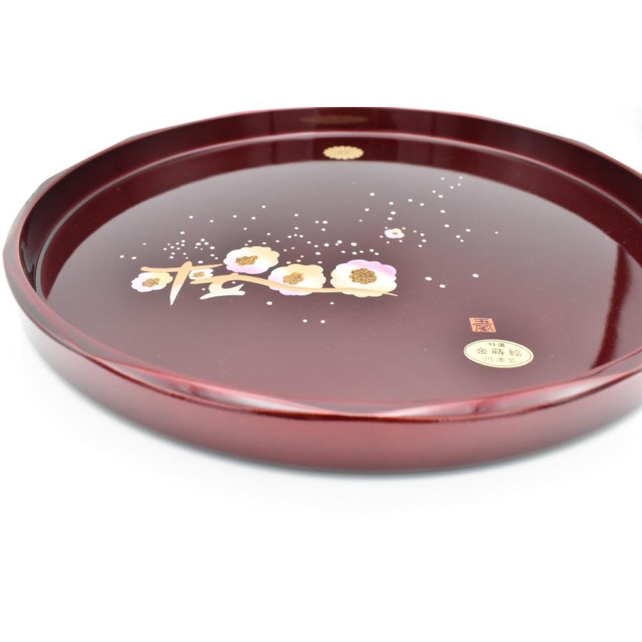 紀州塗 盆 菊紋入り 丸盆玉虫塗桜30cm item no.1f338|hamadaya-shokki|02
