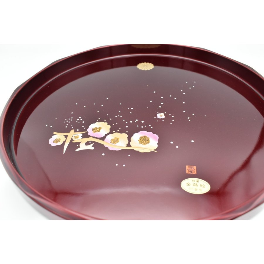 紀州塗 盆 菊紋入り 丸盆玉虫塗桜30cm item no.1f338|hamadaya-shokki|03
